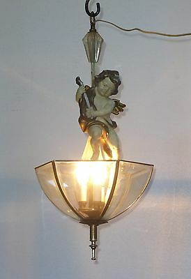 Vintage French Provincial CHERUB Angel Hanging Ceiling LIGHT Chandelier