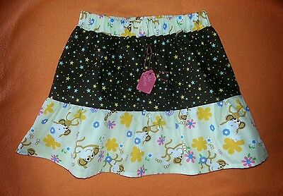 New Girls Cute Star & Cheeky Monkeys Frilly Ruffle Skirt. Age 2-4. Retro Hippy