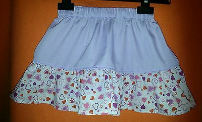 New Girls Cute Lilac Frilly Ruffle Skirt Hearts. Kitsch.  Age 4-6