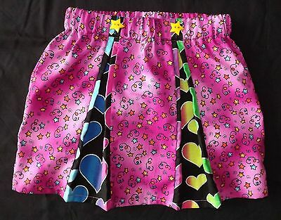New Girls Funky Stars & Hearts Pleated Skirt Age 3-5. Pink, Unique