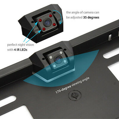 In Car Reversing Camera Back Up Rear View Parking Plate Night Vision 4 IR LEDs