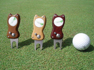 retractable golf divot / pitch tool world first from timber Walnut colour