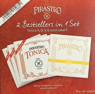 New Tonica Violin String Set A,D,G with Pirastro Gold Label E Ball End 4/4 Size