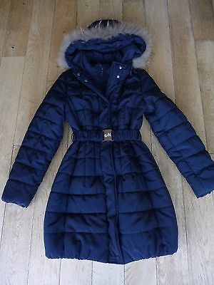 Mona Lisa Navy Puffa Jacket With Faux Fur Trim Age 10 In Very Good Condition