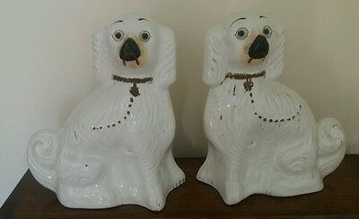 Pair of Large Staffordshire Mantel Dogs with Glass Eyes