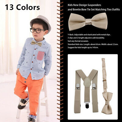 Polyester Kids Design Suspenders and Bowtie Bow Tie Set Matching Ties Outfits#X