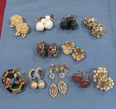 Vintage Mixed Lot of 11 Pairs of Clip-on Earrings 2 Sterling Napier Trifari