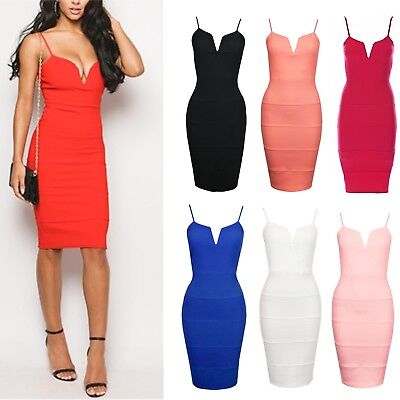 Womens Adjustable Strap V Front Ribbed Bandage Stretch Bodycon Ladies Midi Dress