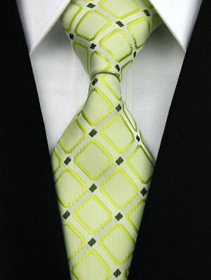 1 x mens tie silk wedding business man christmas gift lime green squares necktie