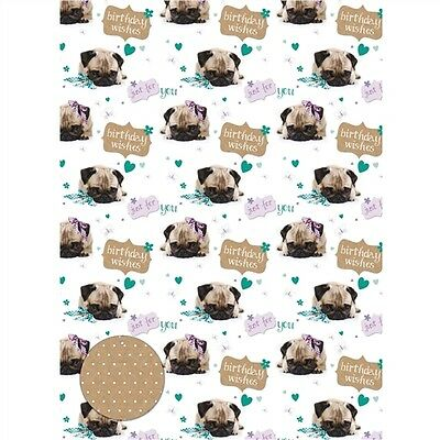 Gift Wrap & Tags - Cute Birthday Pug (2 Sheets+Tags)