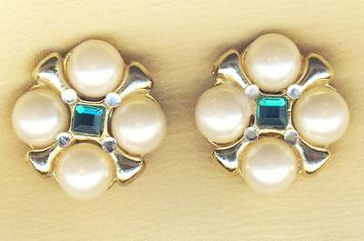 Pretty Vintage Rhinestone and Faux Pearl Fitting Earrings