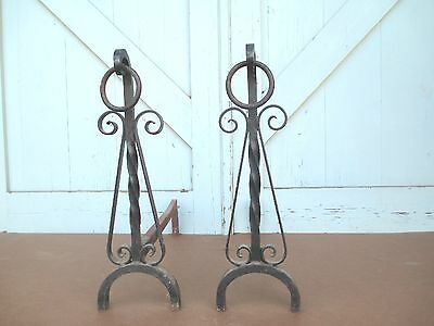 MISSION hand Wrought iron FIRE PLACE andirons  / 19.6 Lbs. simple ARTS & CRAFTS