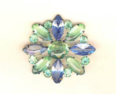 Pretty Vintage Edwardian Green and Blue Navette Brooch Pin