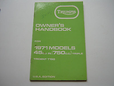 Triumph Trident T150 1971 owners handbook  USA Edition New but shop soiled