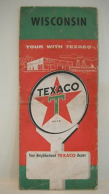 Vintage 1950s TEXACO ROAD MAP Wisconsin State Gas Oil T-Star Logos