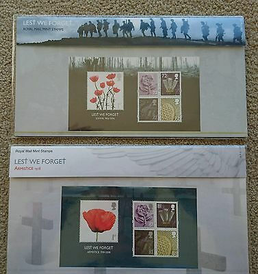 Armistice and Somme definitive presentation packs of Royal Mail mint stamps