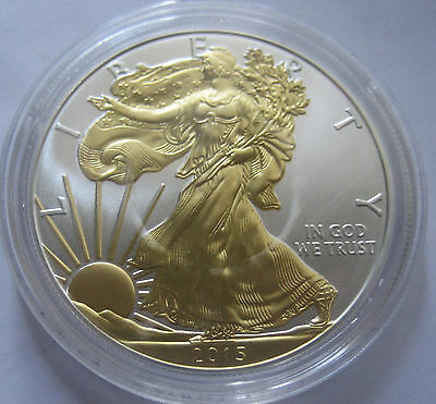 UNITED STATES of AMERICA ONE DOLLAR 2015 WALKING LIBERTY pure SILVER GOLD PLATED