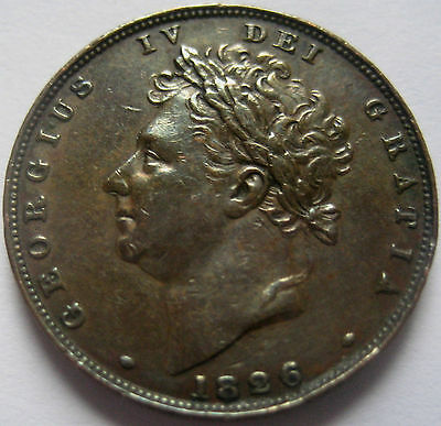 King George Iv Farthing 1826 Brilliant Attractive Patina