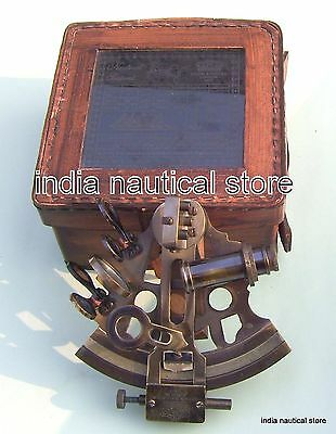 """Nautical Brass Maritime Sextant Astrolabe 5"""" With Leather Box"""