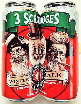 Scrooges Winter Ale 3 Stooges craft beer can 16oz Griffin Claw Birmingham Bot Op