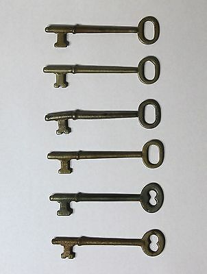 Six Antique Skeleton Door Keys - 3 inches long each