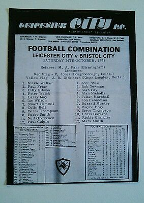 Leicester City Reserves v Bristol City (Combination) 1980. GARLAND WILSON MAY