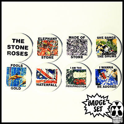 The Stone Roses Silvertone Singles Badge Set - 8 Quality Pin / Button Badges