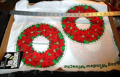 christmas sewing panels wreaths vintage