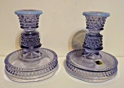 Westmoreland Amethyst Candleholders Pair Opalescent Hobnail Label Hard to Find