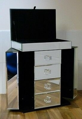 Mirrored Silver Glass Jewellery Box With Three Drawers & Fliptop Lid Revealing