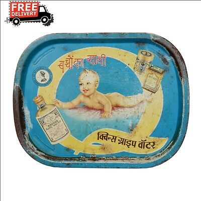Vintage Old India Queen Gripe Water Original Litho Print Tin Tray 206