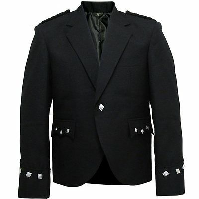 Tartanista Black Scottish Kilt Argyll Jacket 38 - 58 In Regular & Long