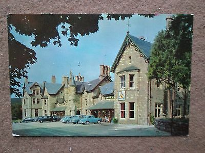 Postcard of Invercauld Arms Hotel Braemar with classic cars.