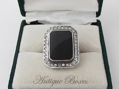 Art deco black onyx, silver & paste ring, stamped '925'. UK size M½