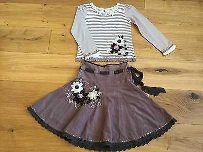 Girls Monsoon Skirt Matching Top Tshirt Party Outfit Set Christmas 7-8 Yrs