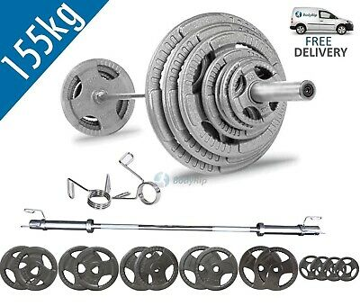 BodyRip Tri Grip Olympic 155kg Weight Set with 6FT Barbell and Collars