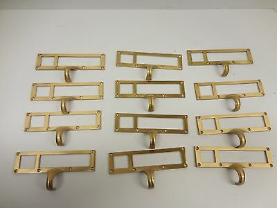 SET OF 12 VINTAGE BRASS FILE CABINET PULLS WITH 2 WINDOWS/ NOS          z-2