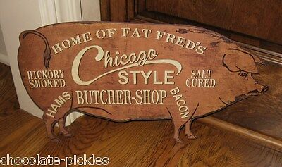 PIG Butcher Shop Wall SIGN*Primitive/French Country Kitchen/Restaurant Decor
