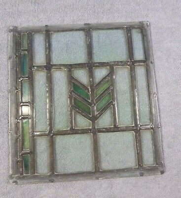 Antique Leaded Stained Glass Art Deco Parallelograms A Window Panel Ships Free!