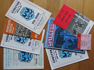 Chester League Cup 1974/5 Collection Programmes/ticket
