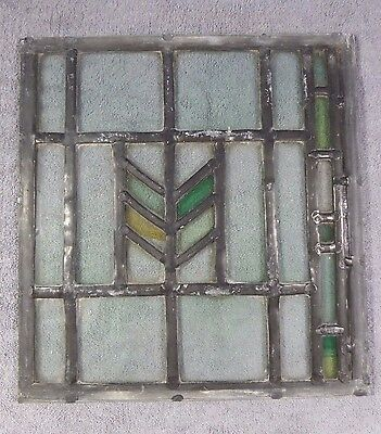Antique Leaded Stained Glass Art Deco Parallelograms Window Panel C Ships Free!