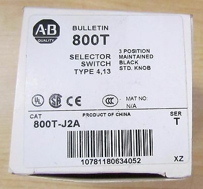 ALLEN BRADLEY 800T J2A 3 Position Maintained Selector Switch Black Knob Ser T