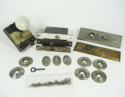 Antique Early 1900s Door Hardware Door Knob Back Plates Screws Porcelain Lock