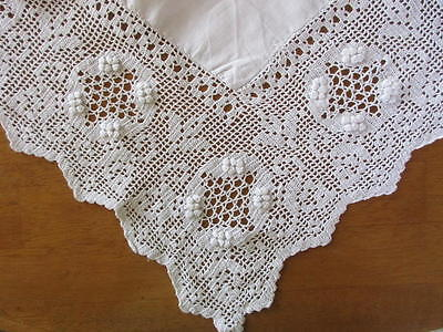 "Vintage Hand Made Linen Tablecloth~Detailed Crochet Lace~44""~England"