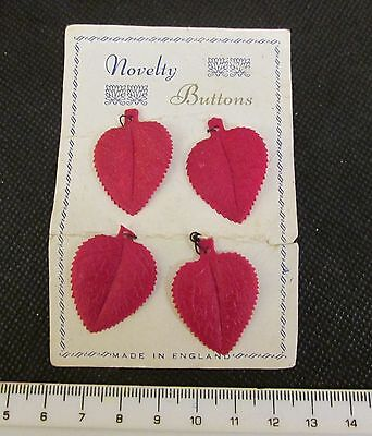4 RARE VINTAGE - UNUSED (1920's) RED LEAVES NOVELTY BUTTONS on original card