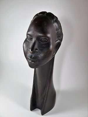 Vintage Hand Carved African Kunga Signed Tribal Head Sculpture Bust NO RESERVE