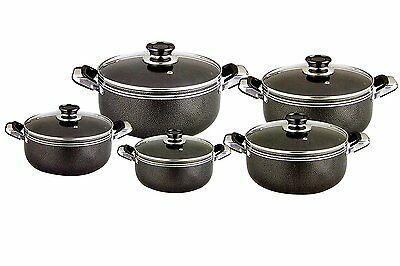 10 Pc Casserole Set Stainless Steel Cooking Kitchen Dish Stewing Pot Glass Lid