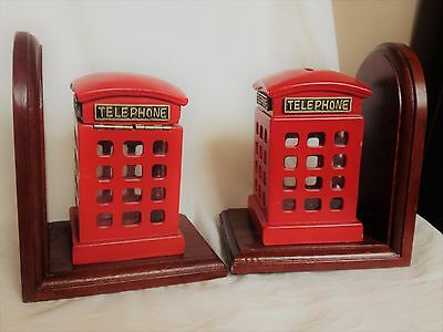 Vintage Style Red Telephone British London Phone Box Bookends Moneybox Mod Retro