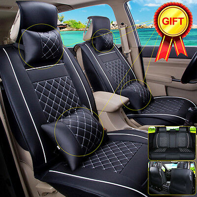 5 Seat Car Seat Covers Cushion PU Leather Front+Rear All Seasons 7PCS Size L