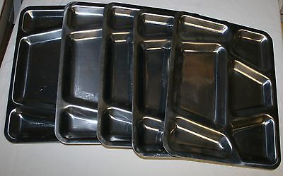 "5 Vintage Stainless Steel Military Mess Trays U.s. Carrollton Mfg.co.11.5""x15.5"""
